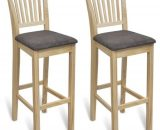 Chaises de bar en pin vernis - Lot de 2 241257FR