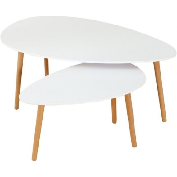 Ensemble de 2 tables basses gigognes style scandinave pieds bois - Blanc TB05002BU interouge home