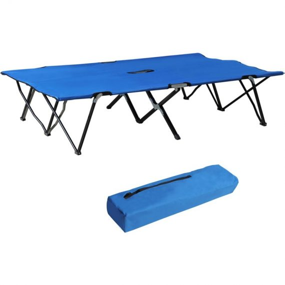 Outsunny Lit de Camp Pliable Bleu 3662970017623 A20-030BU
