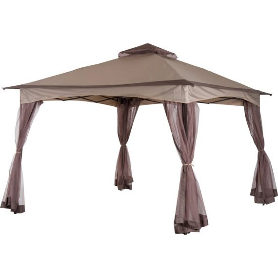 Outsunny Tonnelle Pop-Up Taupe 4 Parois Moustiquaires 3,25 x 3,25 x 2,95 m 3662970024638 840-166